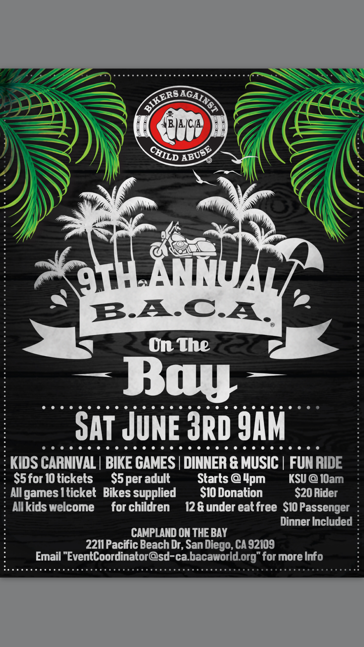 Clint's Ride Club To  9th Annual BACA ON THE BAY