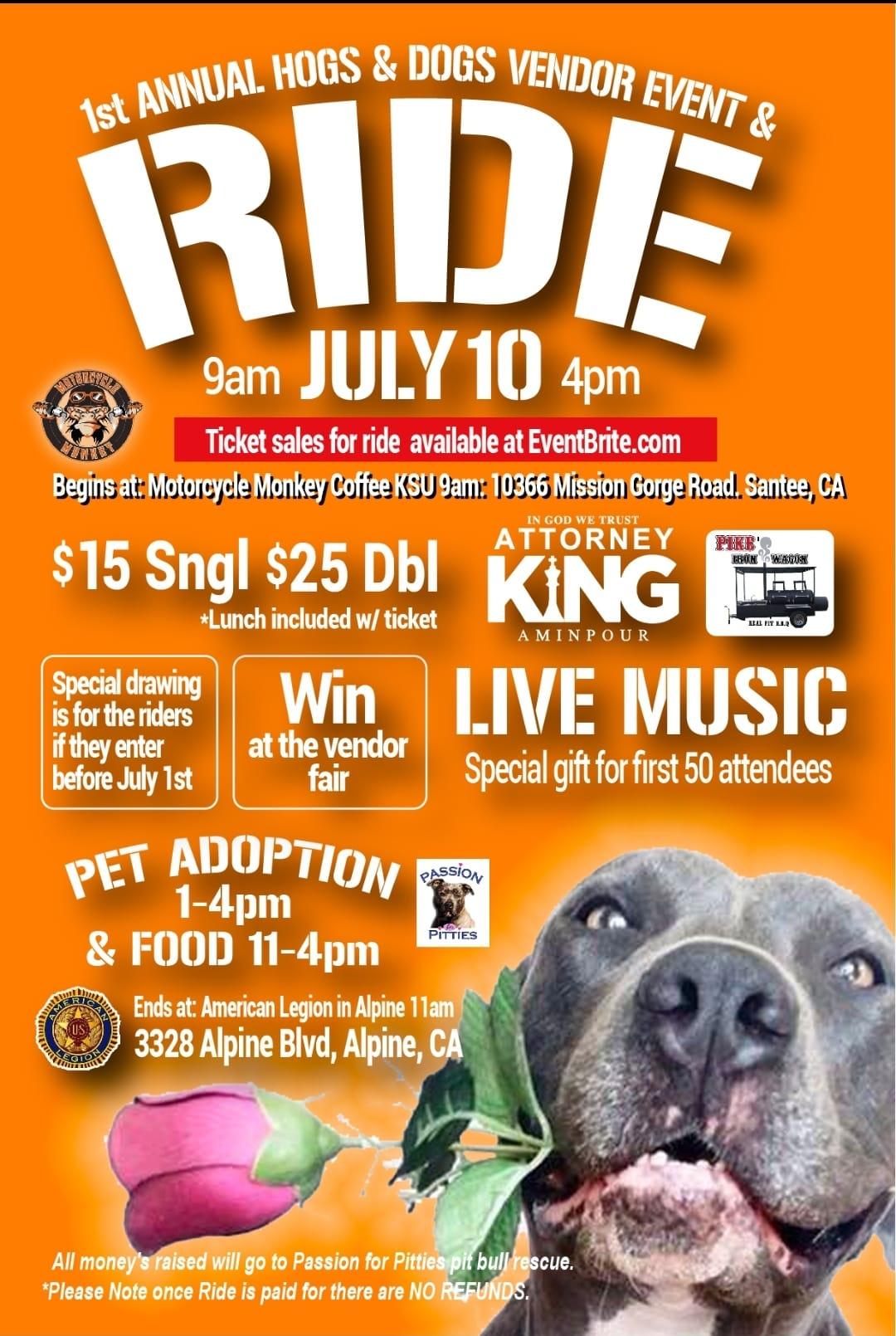 1st Annual Hog & Dogs Vendor Event & Ride