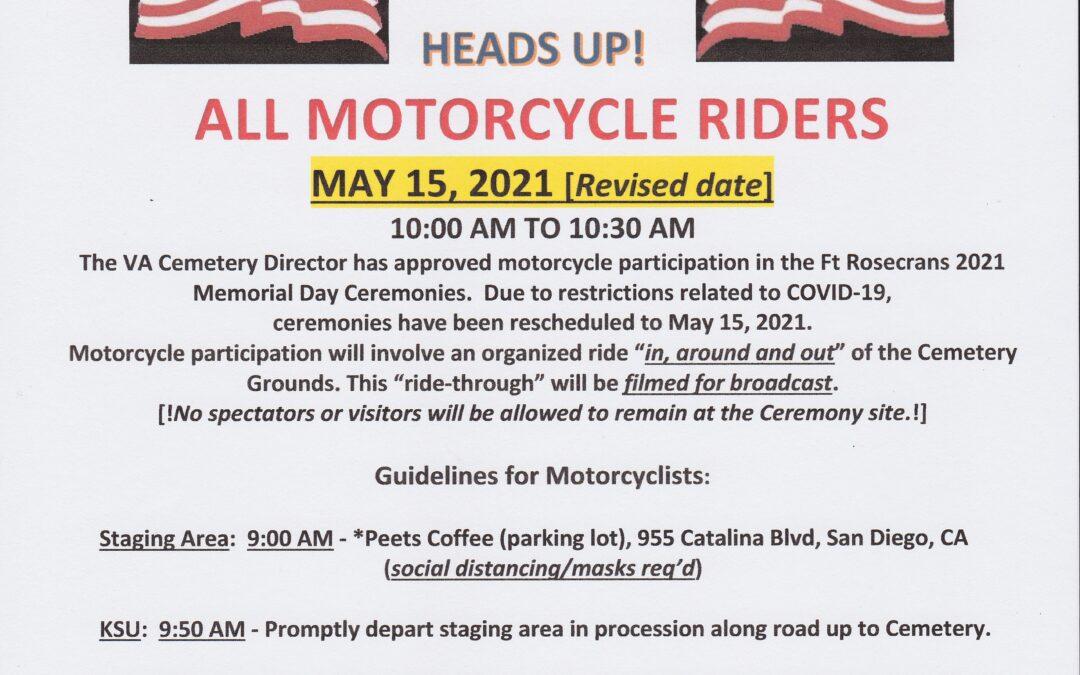 2021 Ft Rosecrans Memorial Day Ride