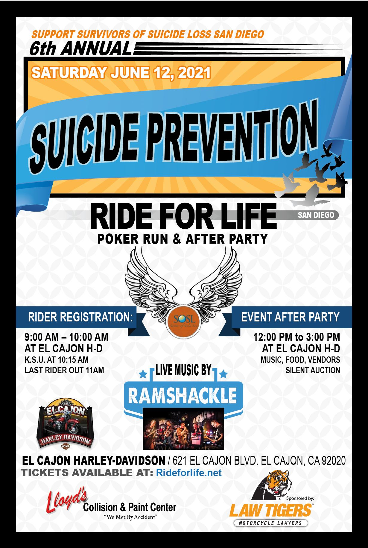 6th Annual Suicide Prevention Ride For Life